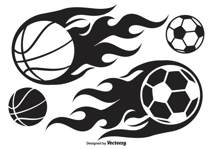 Basketball and Soccer Ball on Fire