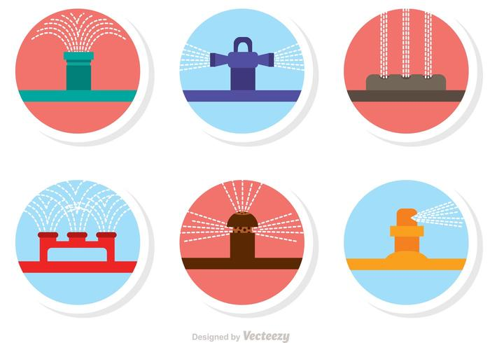 Lawn Sprinkler System Icons Vector