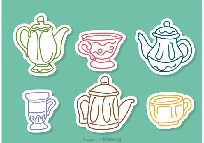 Vectores coloridos del esquema del té