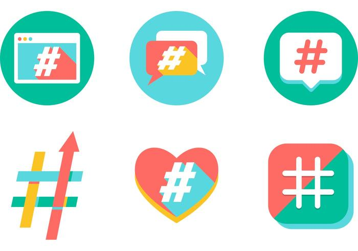 Colorful Hashtag Icons Vector Free