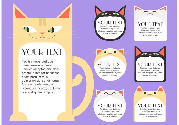 Cat Text Box Tempalte Free Vector