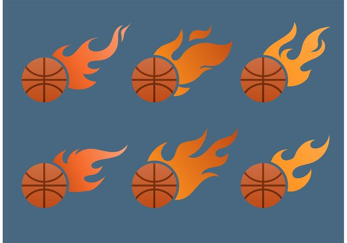 Flammender Basketball-Vektor-Set