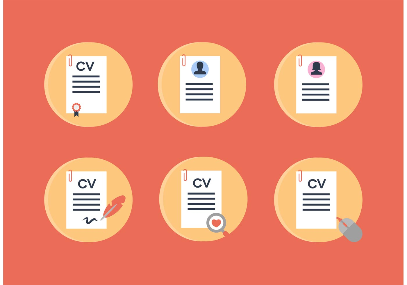 curriculum vitae vector icons
