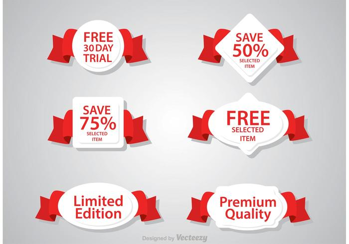 Promo Ribbon Badge Vectors