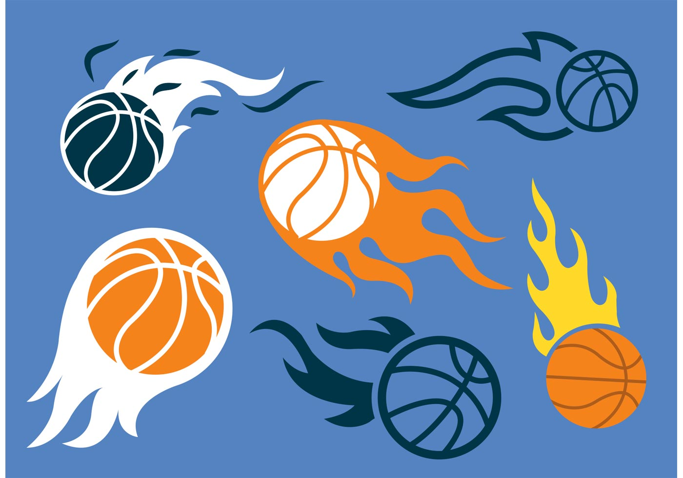 Basketball on Fire Vector Pack - Download Free Vector Art ...