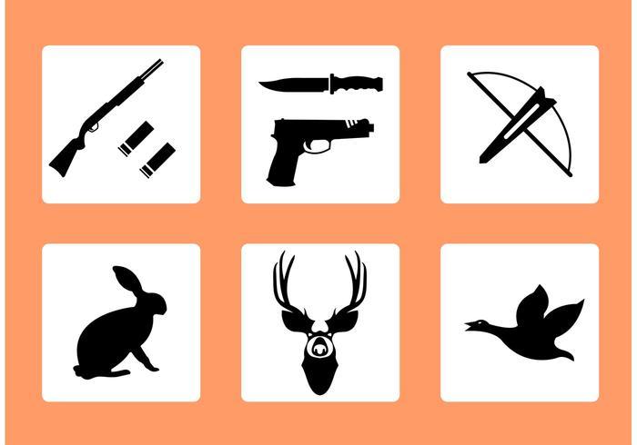 Iconos de caza de vectores