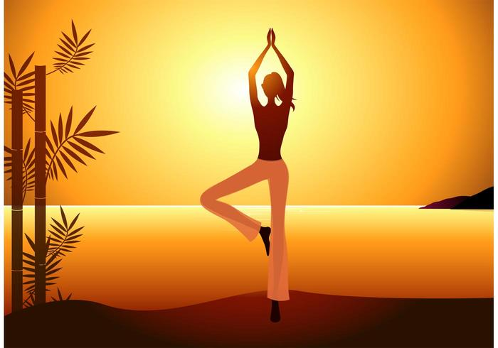 Free Vector Woman Practices Yoga no Sunset