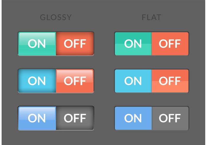 Free Toggle Switch On Off Buttons Vector