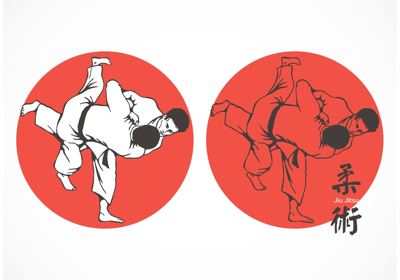 free jiu jitsu fighters vector download free vector art