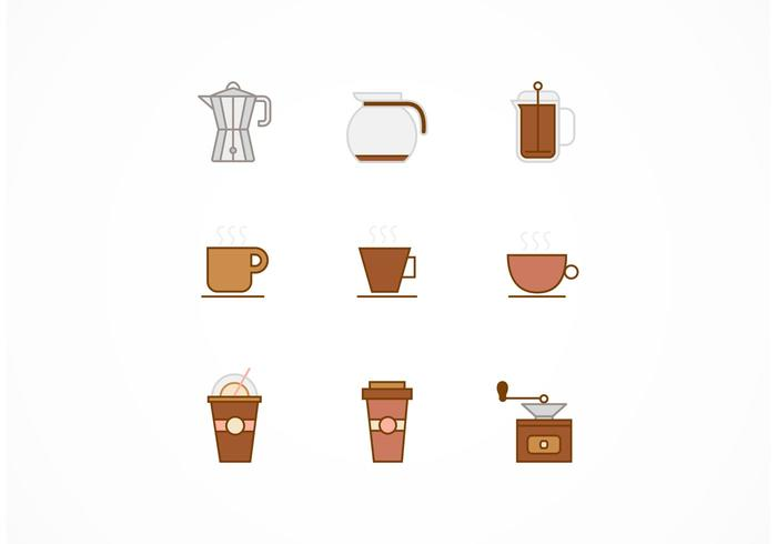 Flat Line Coffee Vector Icons