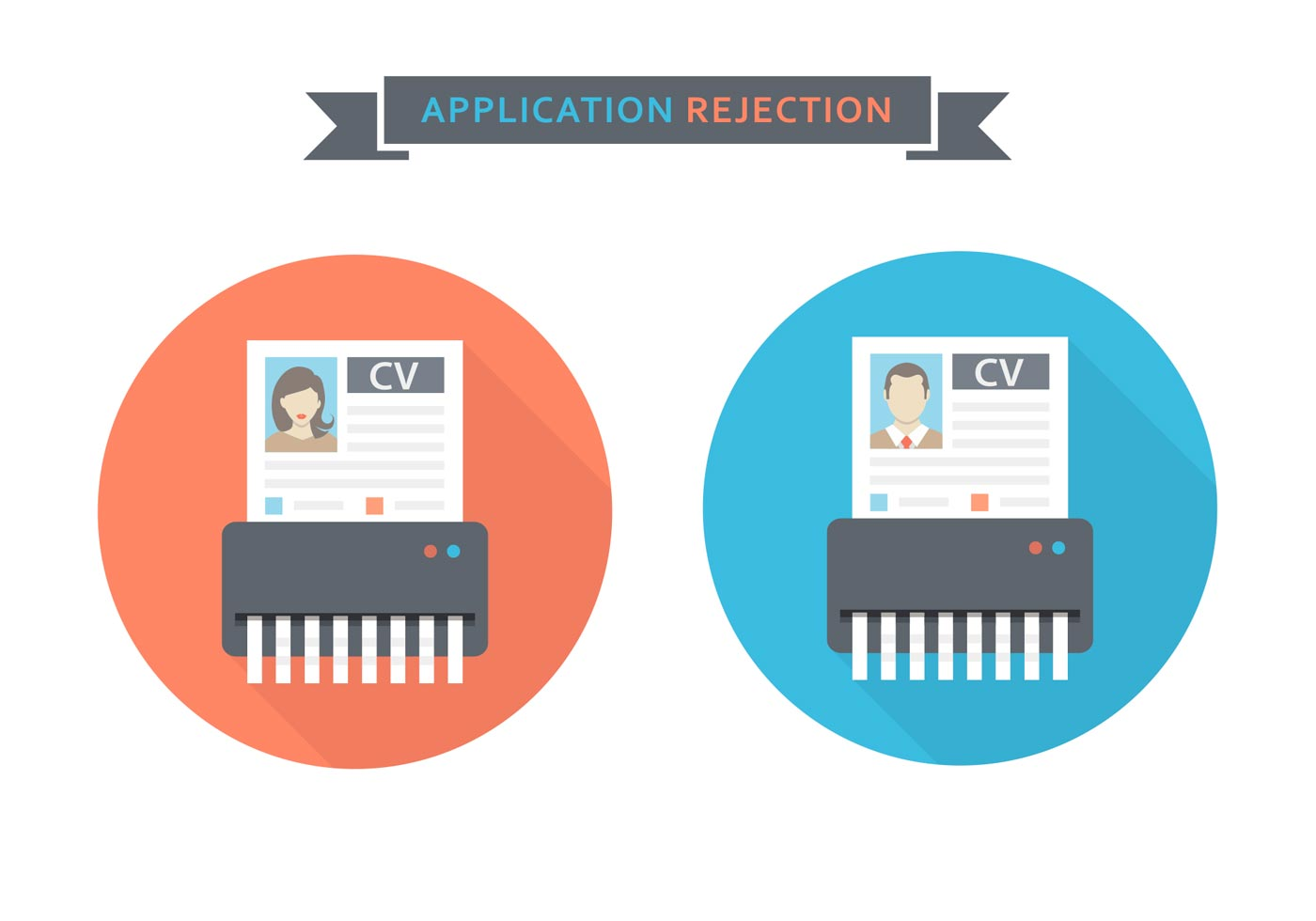 free curriculum vitae rejected vector icons