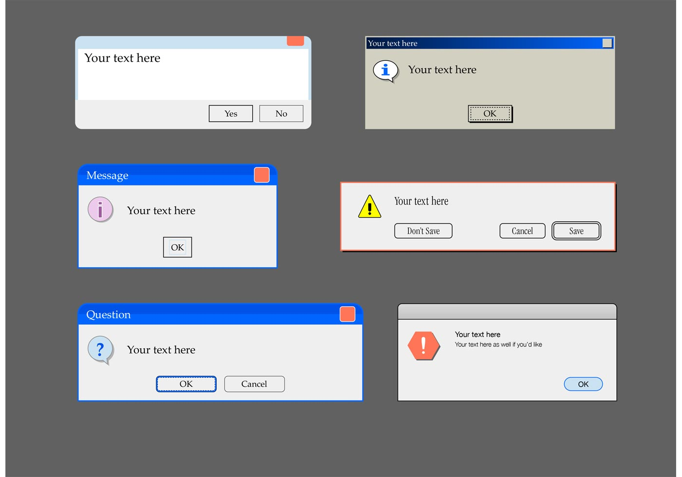 alert window text box templates