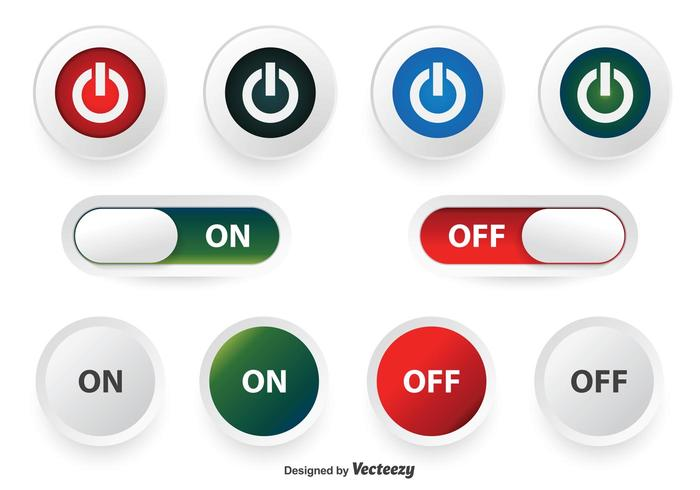 Off and On Button Set vector