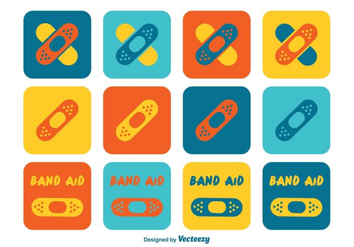 Colorful Kids Band Aid Icons - Download Free Vector Art ...