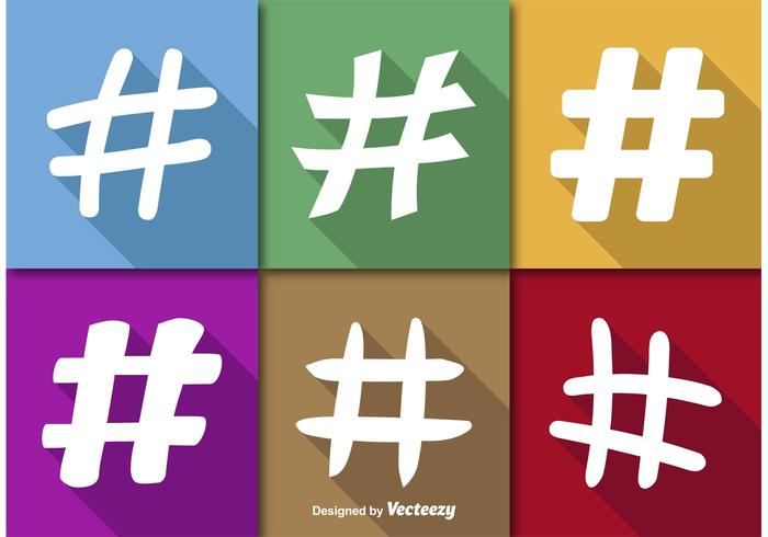 Hashtags Flat Vector Icons