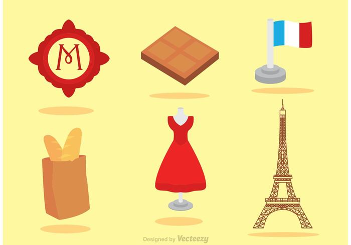 Set Of Paris Icons Vector