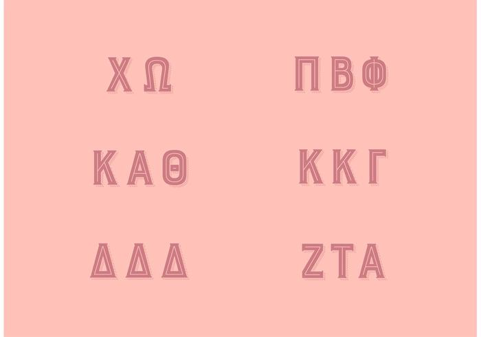 Populära Sorority Greek Letters Set