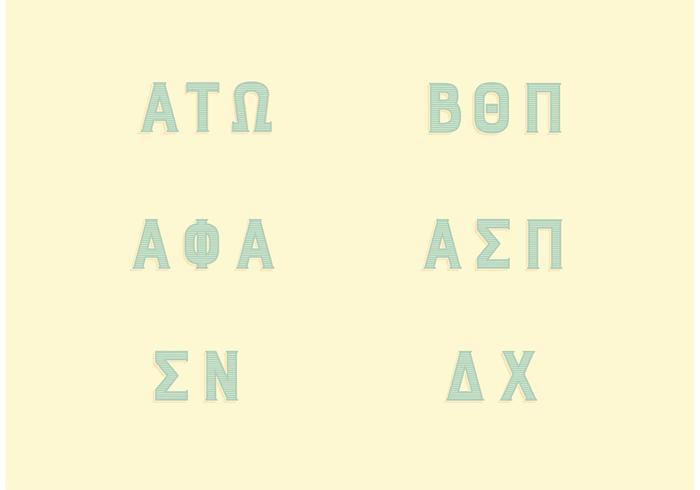 Ensemble de lettres grecques de la fraternité populaire