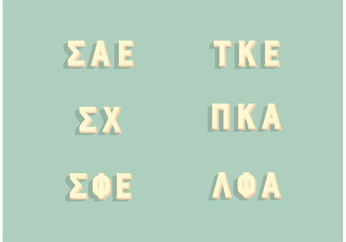 Popular Fraternity Greek Letters Set