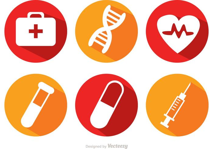 Medical Long Shadow Icons Vector
