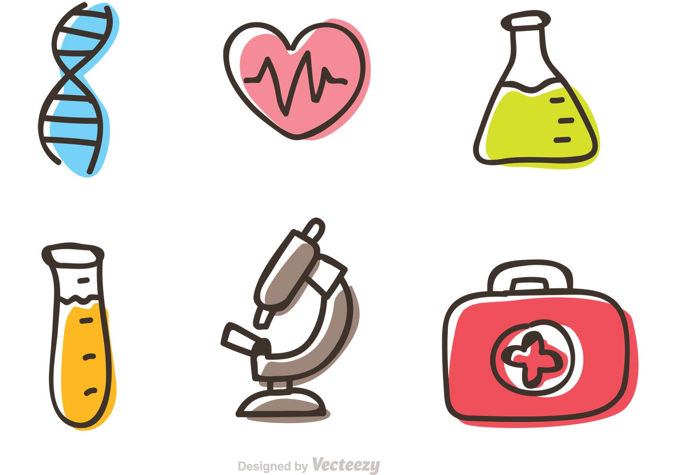 Medical Cartoon Icons Vector