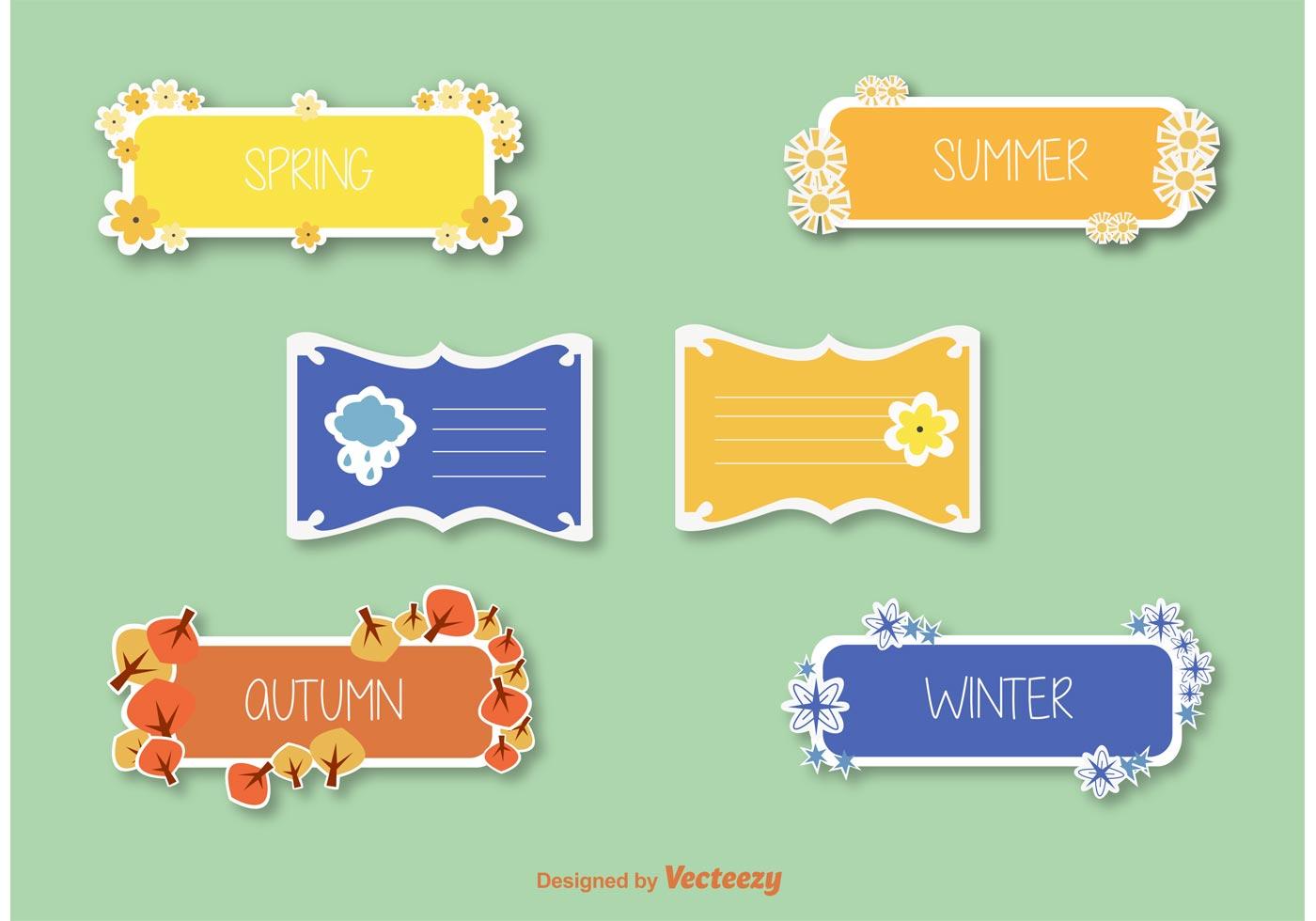 seasons stickers  u0026 label vectors