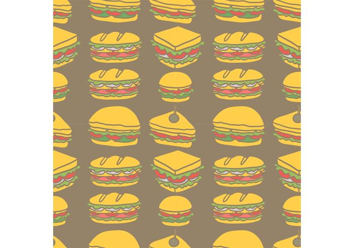 Free Club Sandwich Seamless Pattern Vector