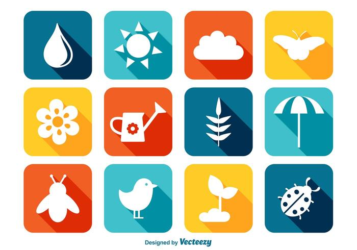 Colorful Spring Icon Set