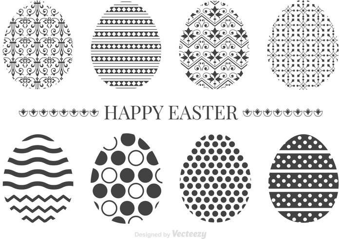 Free Black Decorative Ornamental Easter Eggs Vector