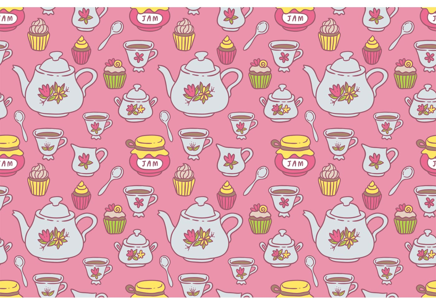 Tea Pattern Vector Download Free Vector Art Stock