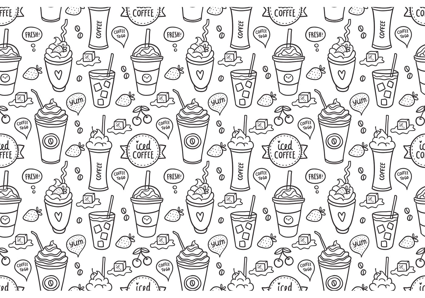 Free Iced Coffee Seamless Pattern Vector Download Free