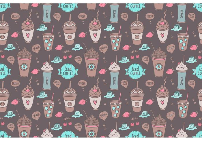Free Colorful Iced Coffee Seamless Pattern Vector