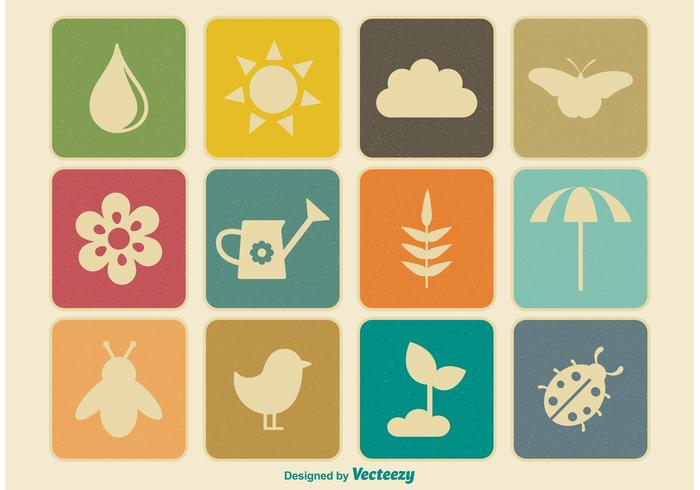 Vintage Spring Vector Icon Set