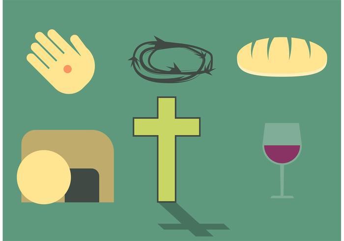 Set di Pasqua religiosa vettore