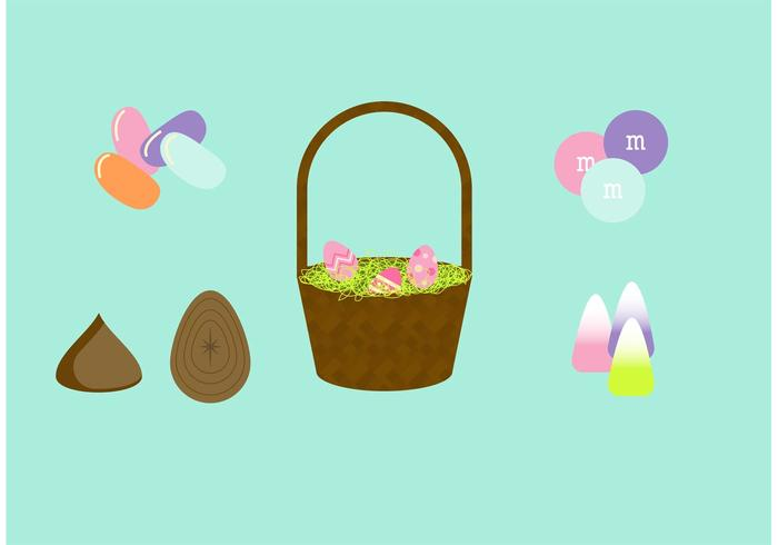 Easter Basket Vector Set