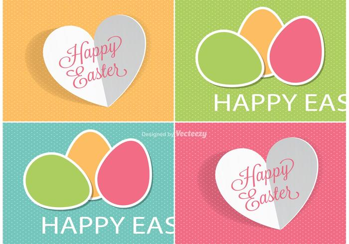 Cute Easter Labels Vectors