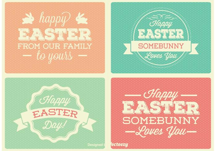 Vintage Easter Labels Vectors