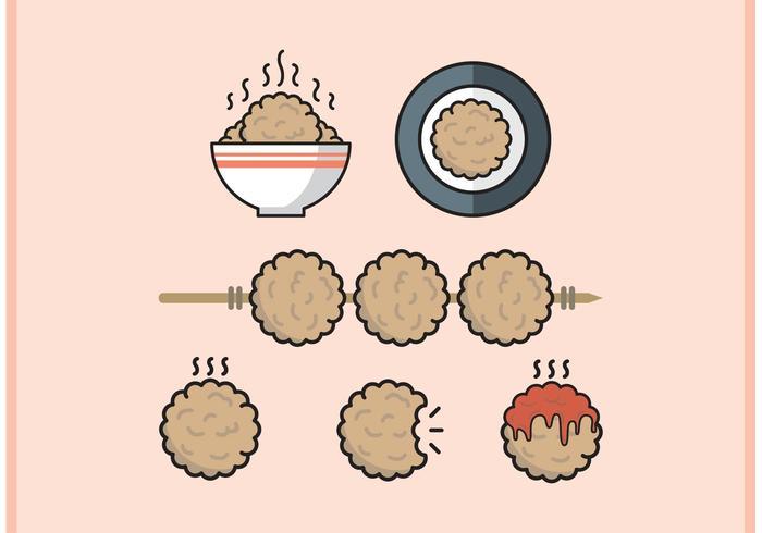 Meatball Minimal Flat Design Vector Free