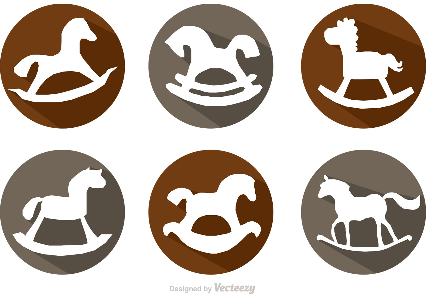 Rocking Horse Long Shadow Icons Vectors Download Free