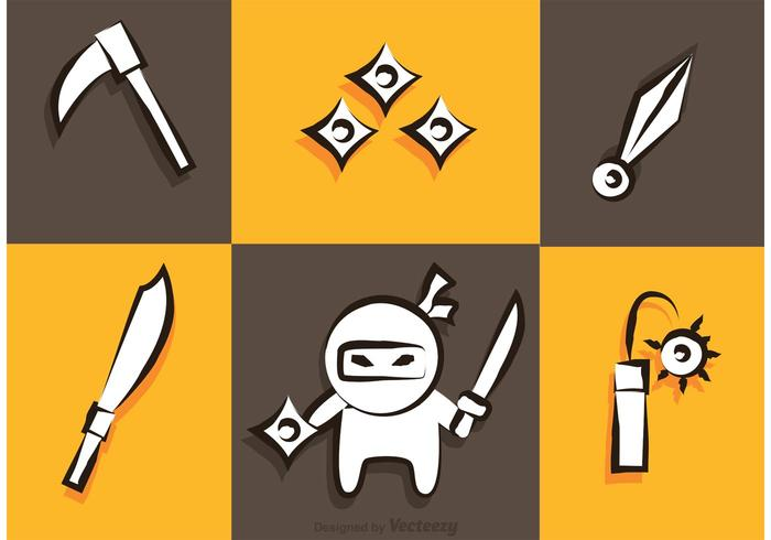 Ninja And Weapons Icons Vector