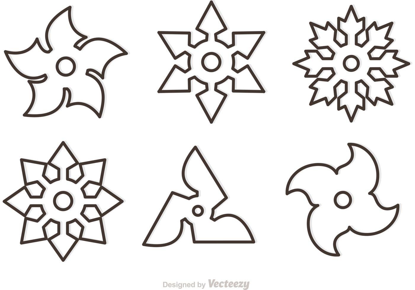 Outline Ninja Star Vectors