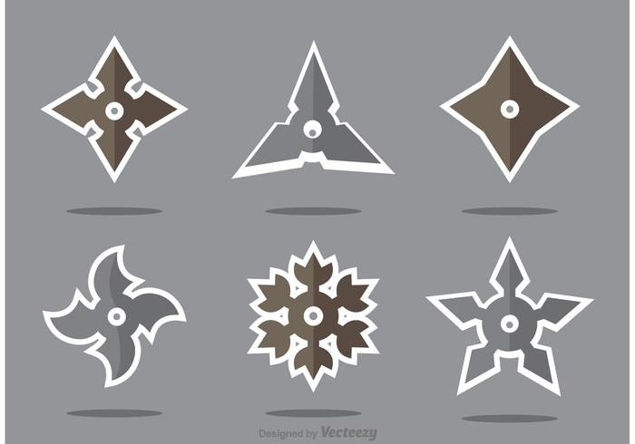 Set of Ninja Star Vector