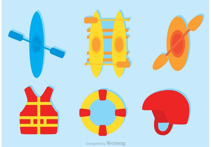 Set Of River Rafting Icons Vector