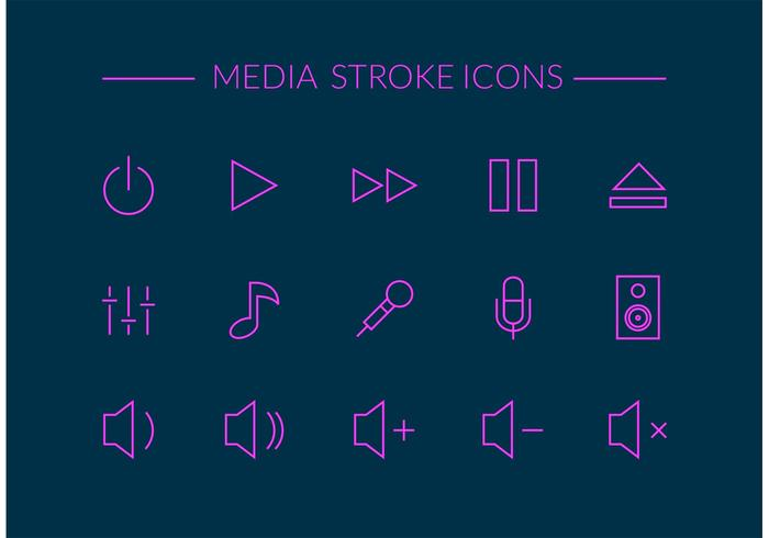 Free Media Stroke Vector Icons