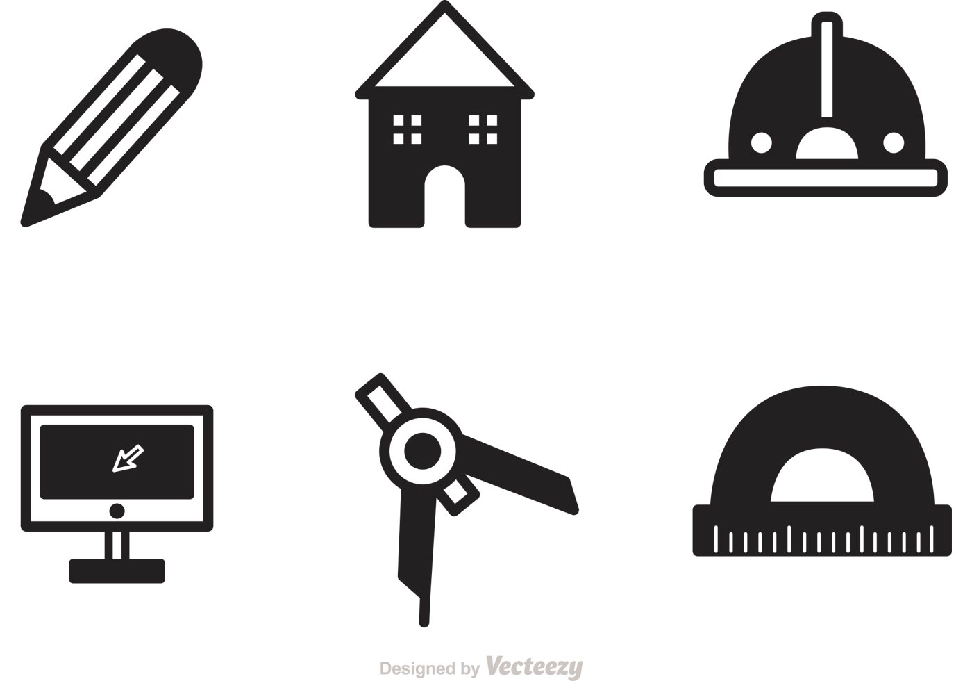 Black architecture tools icons vector download free for Architecture icon