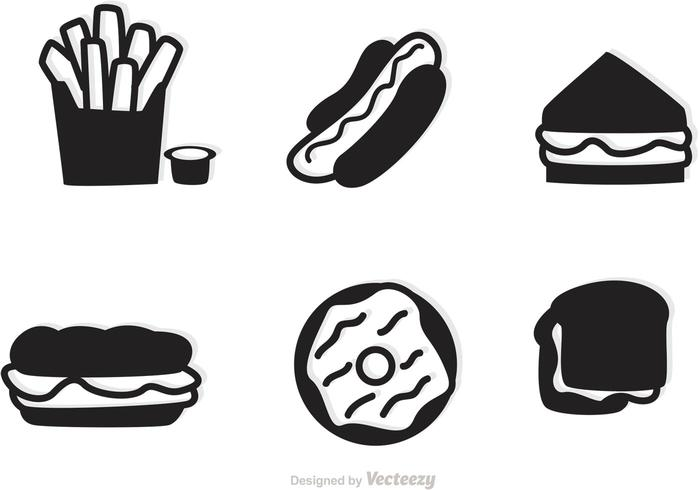 Fast Food Icons Vector Silhouetten