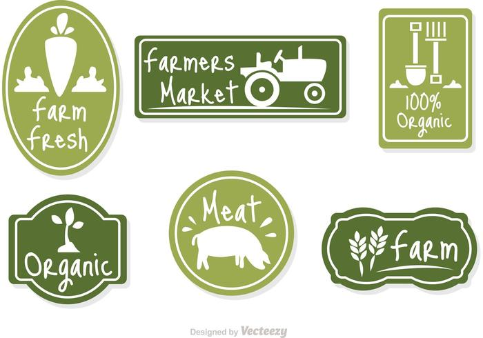 Farmers Market Green Badge Vector
