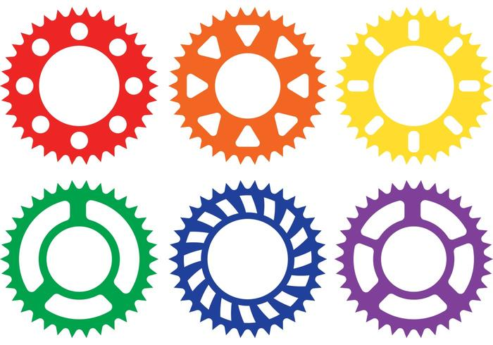 Vectores coloridos de la rueda dentada de la bici
