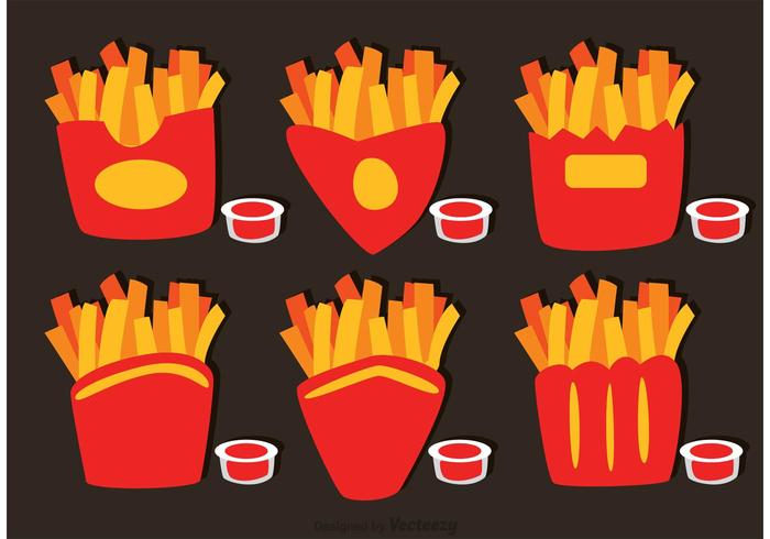 Samling av pommes frites box vektor