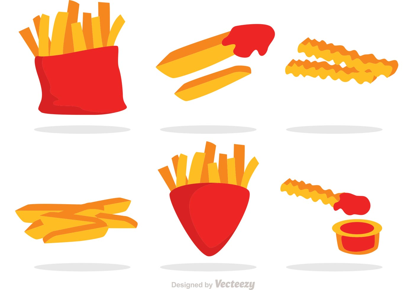 French Fries With Sauce Vector